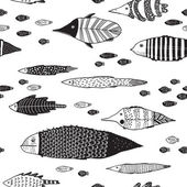 Vector seamless pattern with fishes on a white background