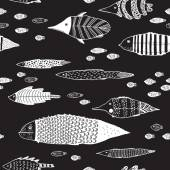 Vector seamless pattern with fishes on a black background