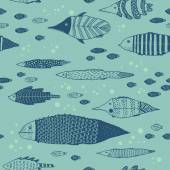 Vector seamless pattern with fishes on a blue background