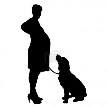 Silhouette of woman with a dog