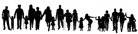 Silhouette of a group of people.