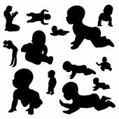 Vector silhouette of a toddler