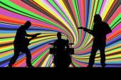Vektorové siluetu hudební skupina