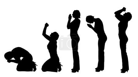 Illustration pour Silhouette vectorielle d'une femme priant sur fond blanc . - image libre de droit