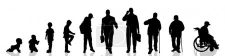 Vector silhouette of man as generation progresses....
