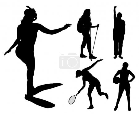 Illustration for Vector silhouettes of different women in different sports. - Royalty Free Image