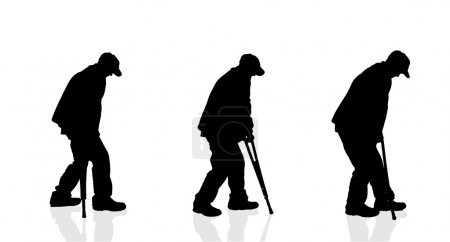 Silhouette of a old men.
