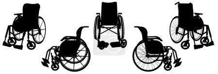 Illustration pour Silhouette vectorielle d'un fauteuil roulant sur fond blanc . - image libre de droit