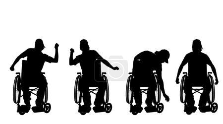 Illustration pour Silhouette vectorielle d'un homme en fauteuil roulant . - image libre de droit