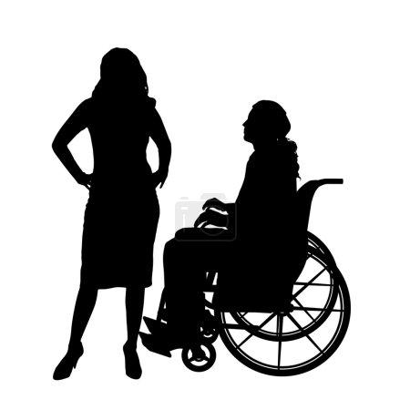 Illustration pour Silhouettes vectorielles homme en fauteuil roulant avec une fille . - image libre de droit