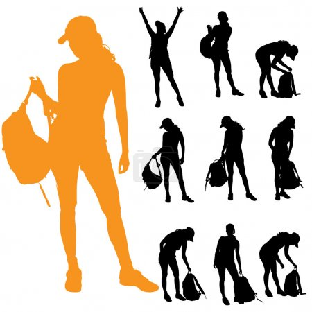 Illustration for Vector silhouettes of a women with a backpack on a white background. - Royalty Free Image