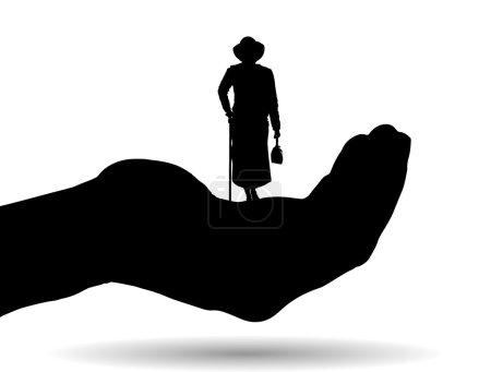 Illustration pour Silhouette vectorielle d'une femme sur paume sur fond blanc . - image libre de droit