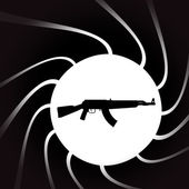 Vector illustration of weapons on the black background