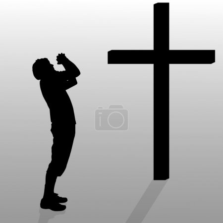 Man who kneels near cross.