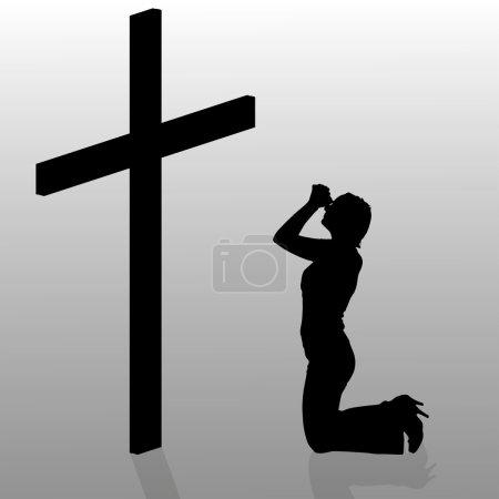 Woman who kneels near cross.