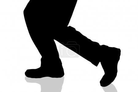 Vector silhouette of male feet on a white backgrou...