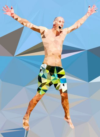 Low poly man jumping