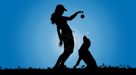 silhouette of a woman with a dog.
