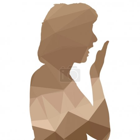Low poly woman silhouette
