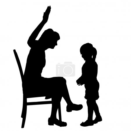 silhouette of mother and daughter