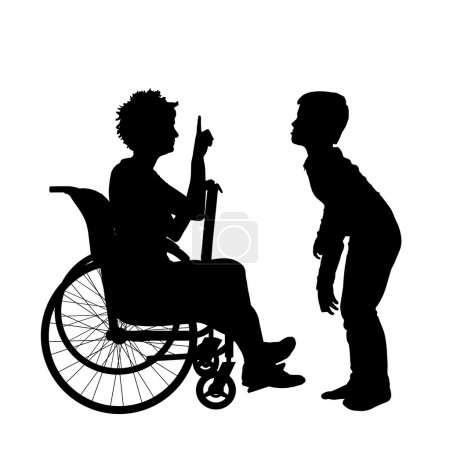 woman in a wheelchair and child