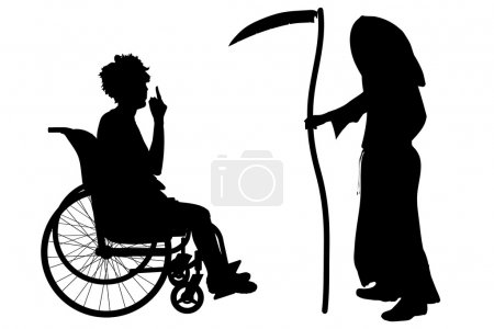 silhouette of a woman in a wheelchair.
