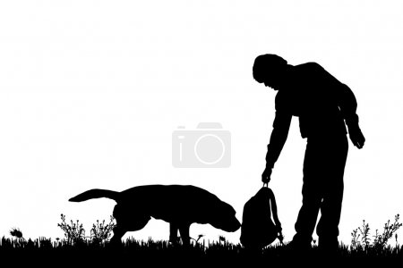 Illustration for Vector silhouette of man with dog on walk - Royalty Free Image