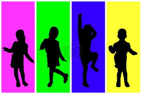 silhouette of playing children.