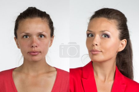 Portrait of young woman before and after make up