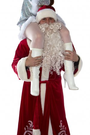 Fun Santa holding a maiden on shoulders