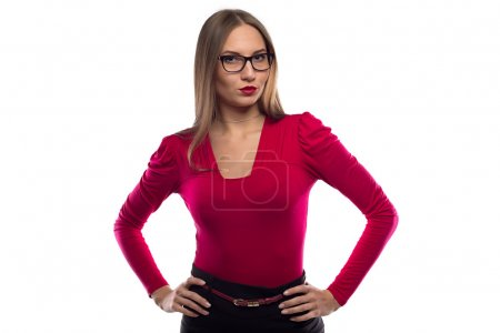 Image surprised woman in glasses