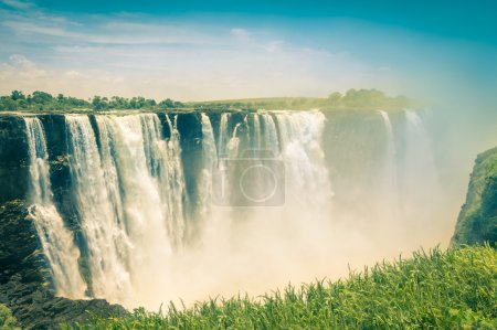 Vintage postcard of Victoria Waterfalls - Natural wonder of Zimbabwe - Continent of Africa