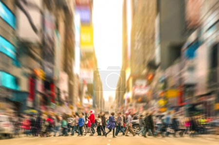 Photo for Melting pot people walking on zebra crossing and traffic jam on 7th avenue in Manhattan before sunset - Crowded streets of New York City during rush hour in urban business area - Royalty Free Image
