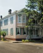 Historical Downtown Savannah Georgia Pink Building