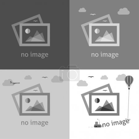 Ilustración de No image creative signs in grayscale. Internet web icon to indicate the absence of image until it will be downloaded. - Imagen libre de derechos
