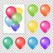 Set of party balloons on transparent background Different colored realistic balloons vector illustration