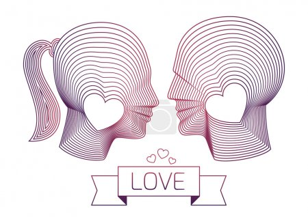 Love couple of man and woman vector profiles