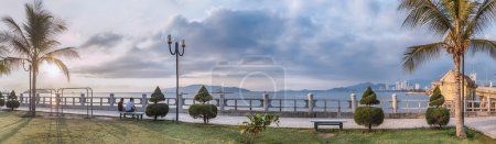 Viet nam, Nha Trang. 30 April 2015. Panorama. City Park with views of the sea and beautiful sunrise.