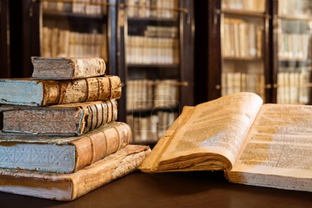 Ancients Books Of The 14th Century In Library...