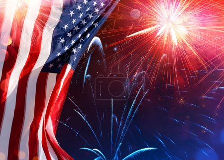 Photo for American Celebration - Usa Flag With Fireworks - Royalty Free Image