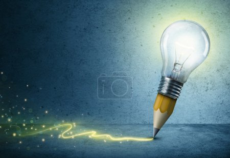 Photo for Pencil-Bulb Drawing Light - Creative Idea Concept - Royalty Free Image
