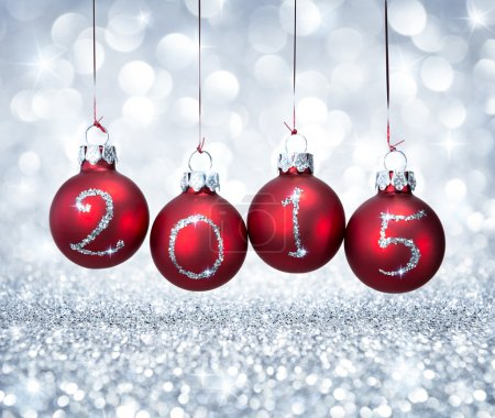Happy new year 2015 with red balls xmas