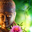 Oriental background with buddha, lily and bamboo...