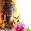 Statue buddha zen with water lily and bamboo...