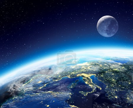 Photo for Earth and moon view from space at night - Europe - Royalty Free Image