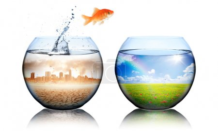 Photo for Global Warming Concept - goldfish jump from pollution to green - Royalty Free Image