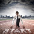 Business start - businessman ready for competition...