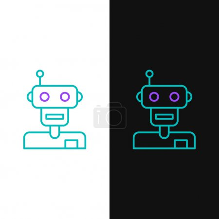 Photo for Line Robot icon isolated on white and black background. Colorful outline concept. Vector. - Royalty Free Image