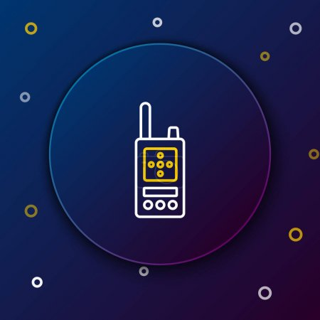 Photo for Line Walkie talkie icon isolated on blue background. Portable radio transmitter icon. Radio transceiver sign. Colorful outline concept. Vector. - Royalty Free Image