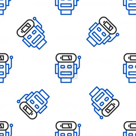 Photo for Line Robot low battery charge icon isolated seamless pattern on white background. Artificial intelligence, machine learning, cloud computing. Colorful outline concept. Vector. - Royalty Free Image